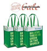 Reusable Grocery Bag with BacLock®, green x 3